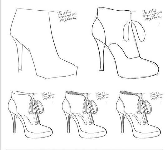 рисунки туфель по клеточкам