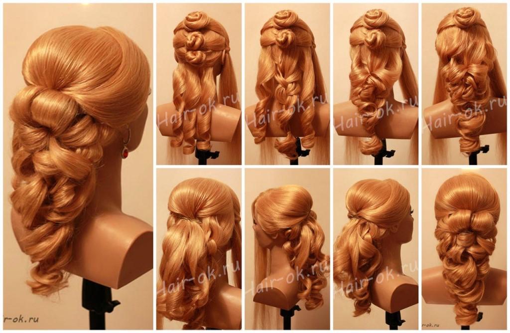 Расчешите волосы и наденьте по линии челки резинку со стразами или цветами, зафиксируйте её невидимками.