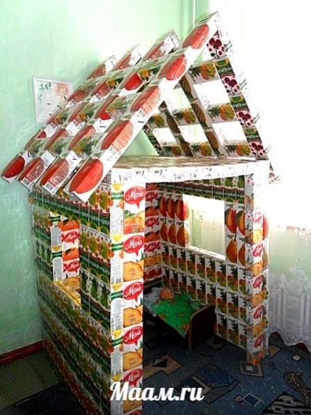 Как сделать домик из коробки сока