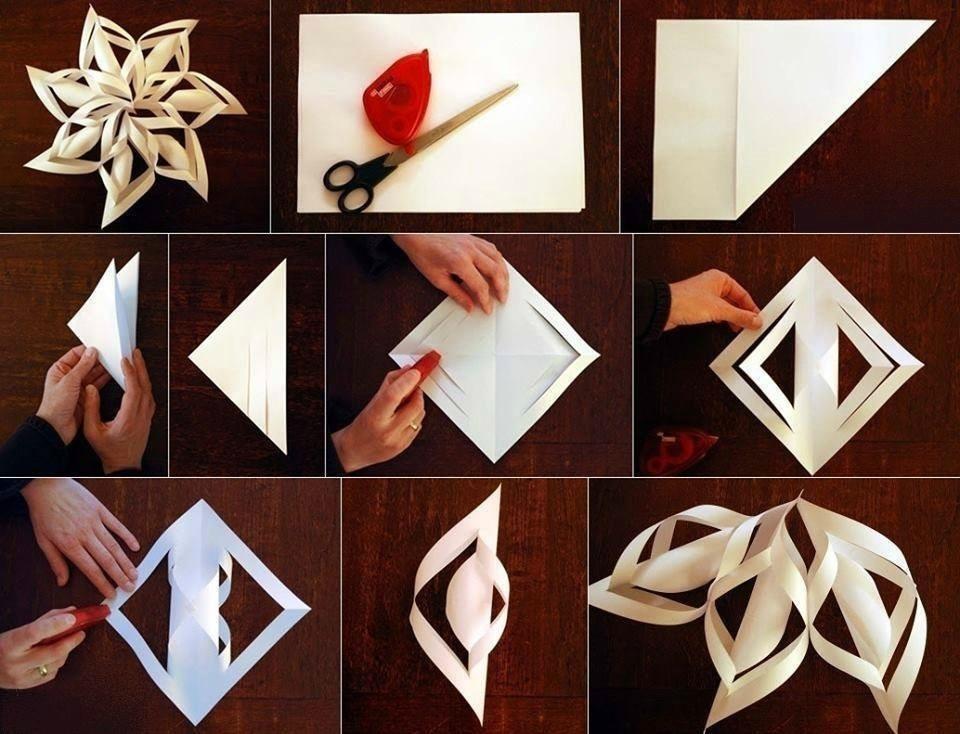 Как сделать большие объемные снежинки из бумаги своими руками