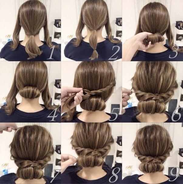 высокие простые прически на длинные волосы своими руками