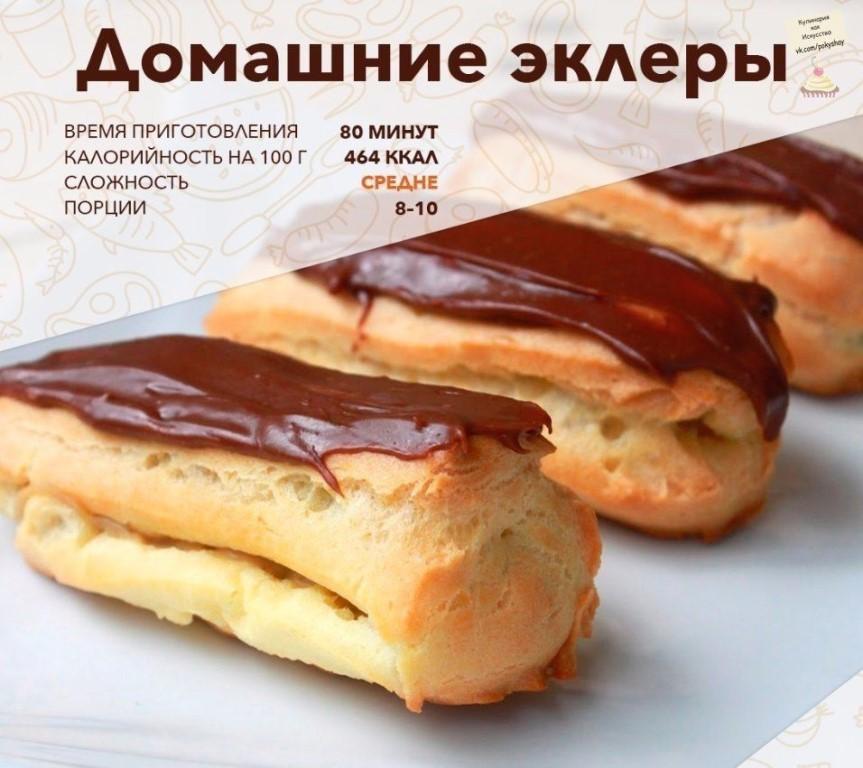 Эклеры с сгущенкой рецепт пошагово в домашних условиях