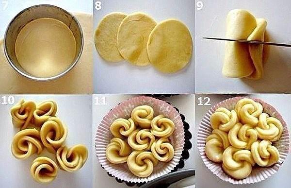 Как сделать из теста булочку розочку