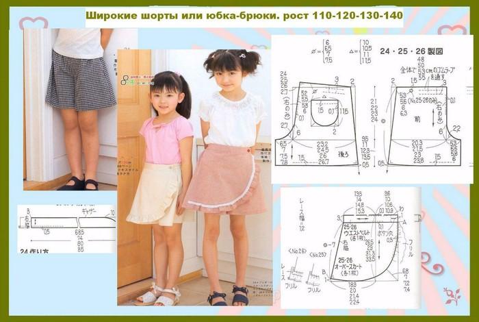 Юбка шорты выкройка для девочки