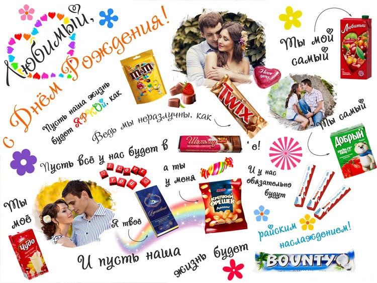 Плакат со сладостями с днем рождения своими руками